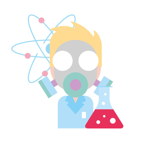 doctor science mask test tube chemistry laboratory vector illustration