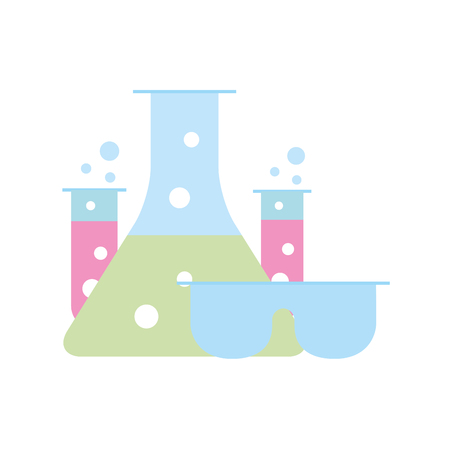 test tube flasks glasses protection chemistry laboratory vector illustration  イラスト・ベクター素材