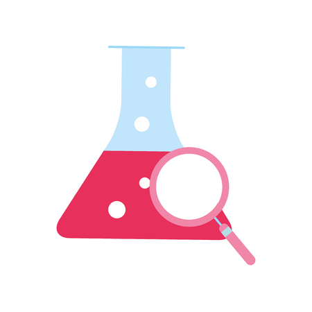 chemistry laboratory beaker flask magnifying glass vector illustration