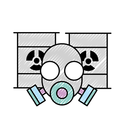 respirator protective mask and hazard barrels vector illustration Ilustrace