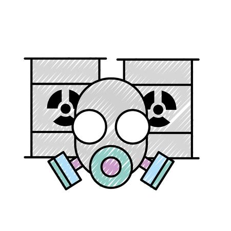 respirator protective mask and hazard barrels vector illustration Illustration