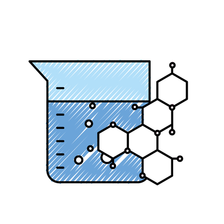 chemical flask and molecule science vector illustration