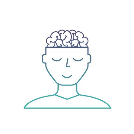 man character mental brain medicine vector illustration neon Stock Illustratie