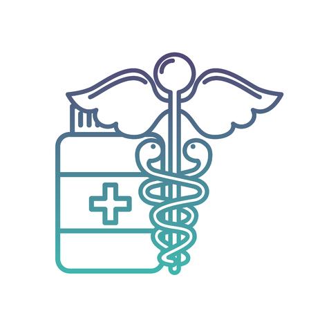 caduceus medical emblem bottle capsule pharmacy vector illustration neon