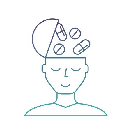 portrait man medication mental health care vector illustration neon Stock Vector - 108321761