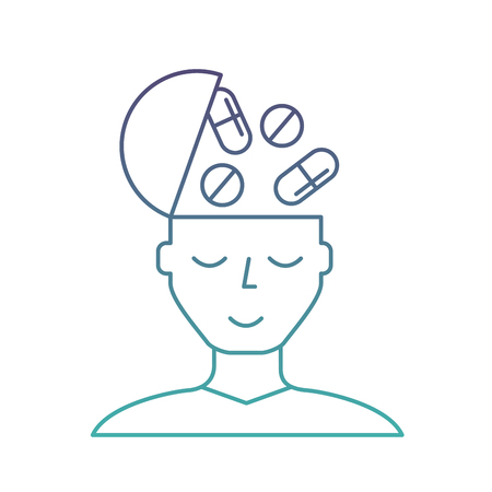 portrait man medication mental health care vector illustration neon Illustration