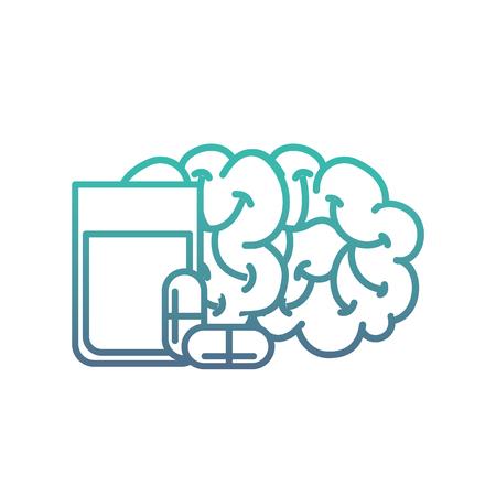 human brain mental water glass capsule medication vector illustration neon