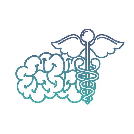 mental brain human care caduceus vector illustration neon Archivio Fotografico - 109950929
