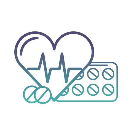 latidos del corazón y medicación píldoras médicas ilustración vectorial neon