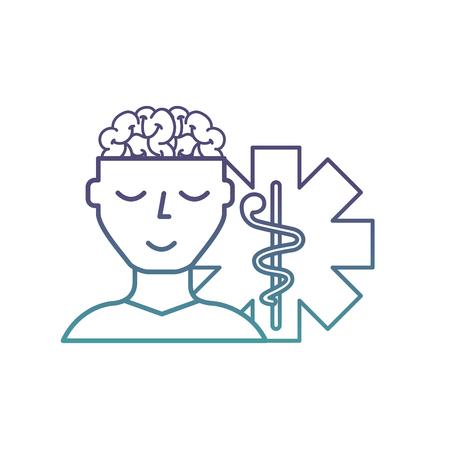man patient character brain mental caduceus vector illustration neon 向量圖像
