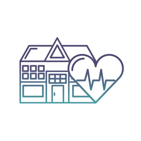 edificio ospedaliero frequenza cardiaca assistenza sanitaria illustrazione vettoriale neon