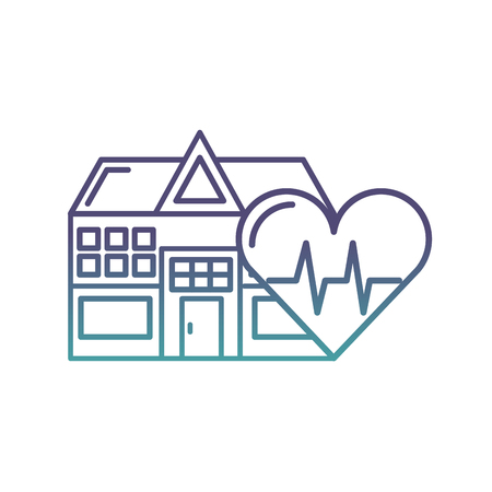 hospital building heart rate health care vector illustration neon