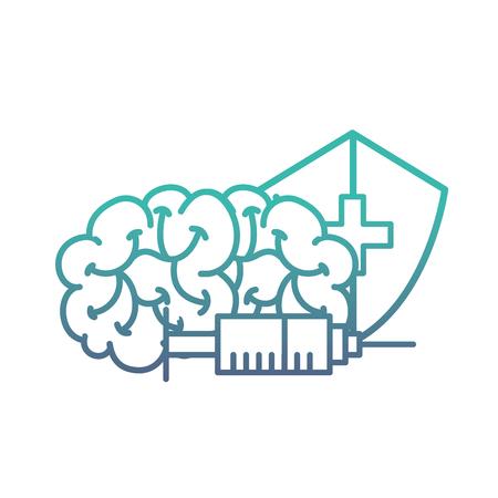 human brain syringe and shield protection medical vector illustration neon Ilustracja