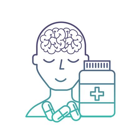portrait human character mental brain bottle medicine capsule vector illustration neon