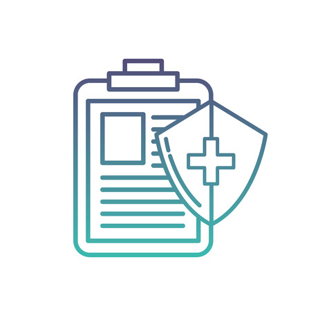 medical clipboard report and shield protection vector illustration neon