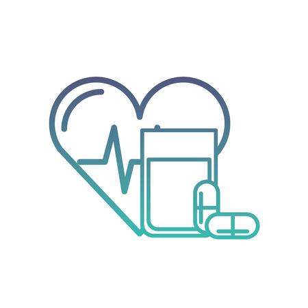 heart rate water glass and capsule medical vector illustration neon