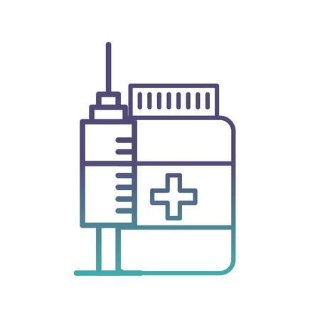 medication bottle pills and syringe vector illustration neon