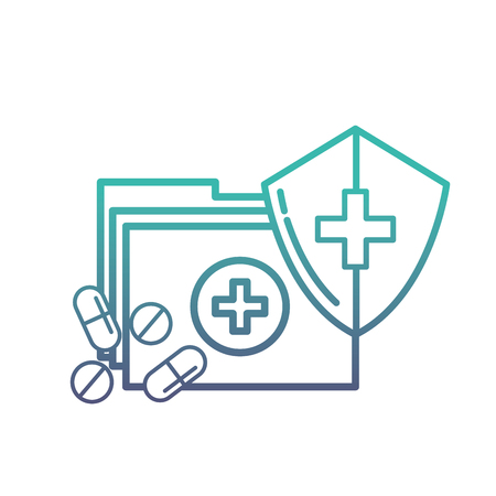 medical folder and pills shield protection vector illustration neon 일러스트