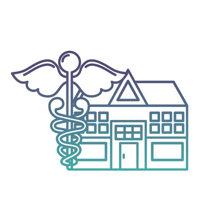 caduceus hospital building healthcare medicine vector illustration neon