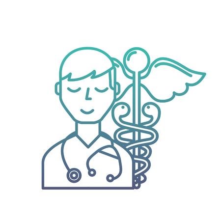 doctor staff medical caduceus emblem vector illustration neon