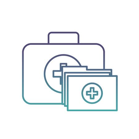 kit first aid folder report medical vector illustration neon