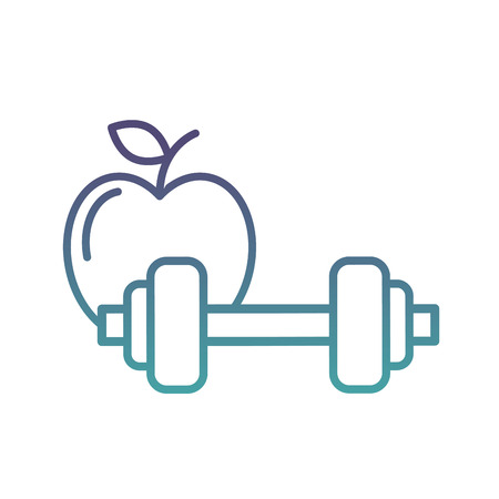 healthcare lifestyle weight barbell and apple vector illustration neon Reklamní fotografie - 109950946