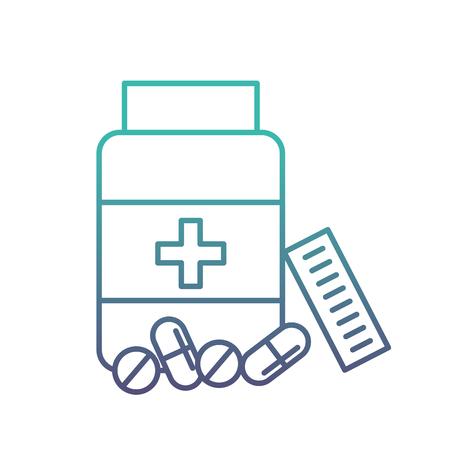 open bottle pills medicine healthcare vector illustration neon Illustration