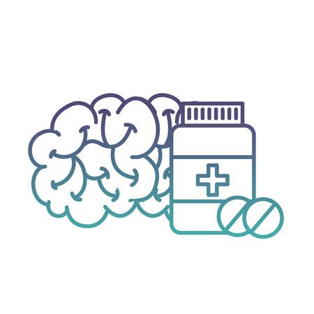 human brain mental care bottle medicine vector illustration neon