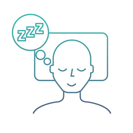man sleeping on the bed vector illustration neon