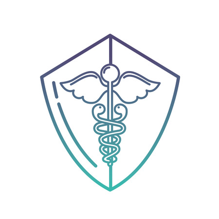 caduceus shield medical healthcare symbol vector illustration neon