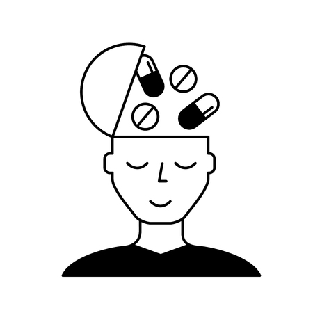 portrait man medication mental health care vector illustration black and white Stock Vector - 109950959
