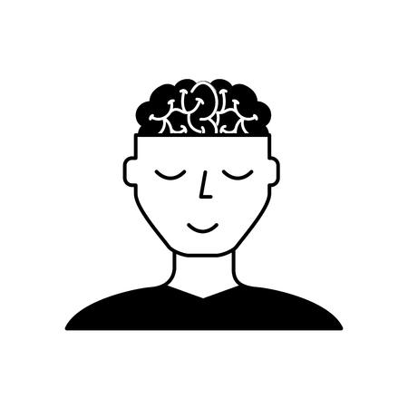 man character mental brain medicine vector illustration black and white Stock Illustratie