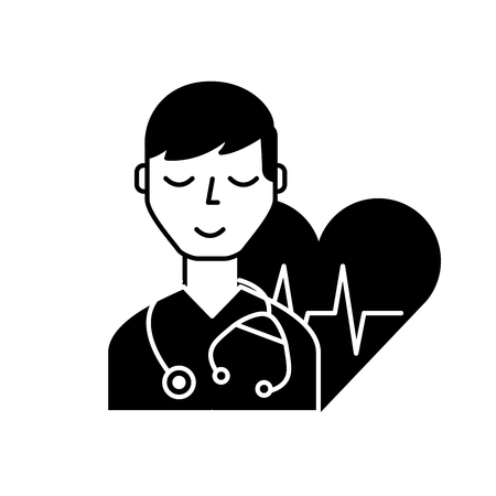 doctor character with stethoscope heart rate care vector illustration black and white