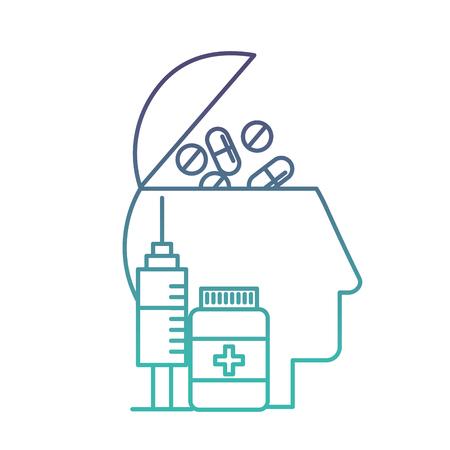 profile human head pills and bottle medical syringe vector illustration neon Illustration