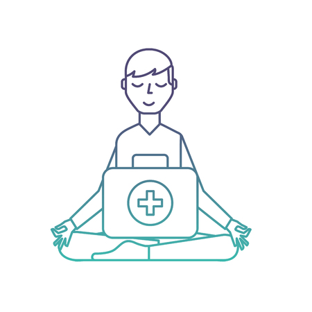 man sitting in meditation with kit first aid vector illustration neon Stock Illustratie