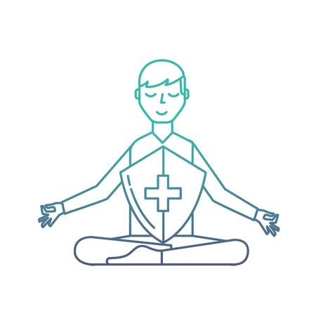 man in meditation shield protection medical vector illustration neon