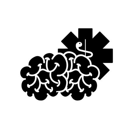 brain mental caduceus healthcare symbol vector illustration black and white