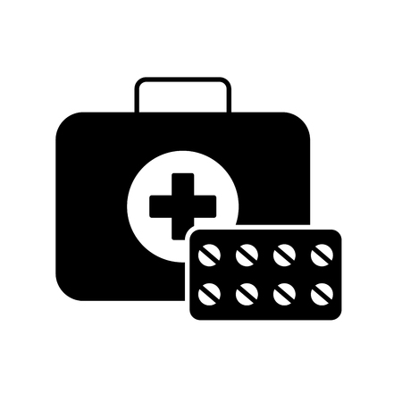 medical kit first aid medication pills vector illustration black and white