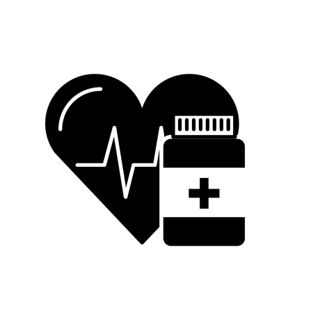 medication pharmacy bottle pills heart care vector illustration black and white