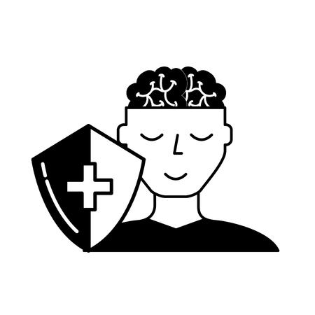 Retrato humano hombre cerebro salud mental ilustración vectorial en blanco y negro