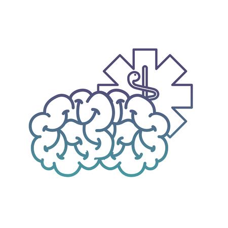 brain mental caduceus healthcare symbol vector illustration neon Illustration