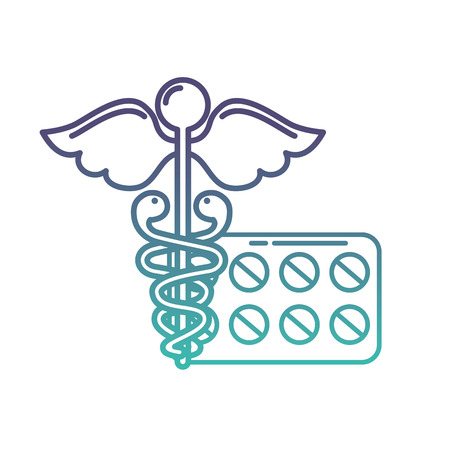 caduceus medical packaging pills healthcare vector illustration neon