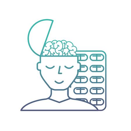 man portrait brain medication mental care vector illustration neon Ilustrace