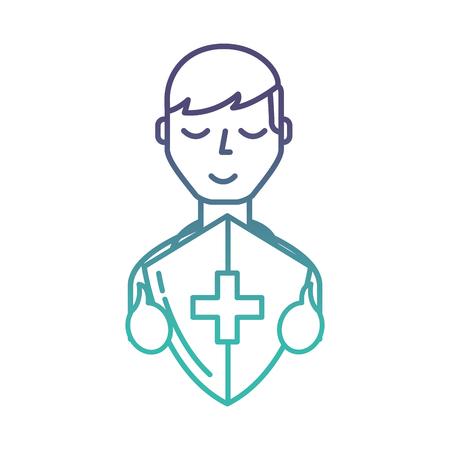 man character holding shield protection medical symbol vector illustration neon 向量圖像