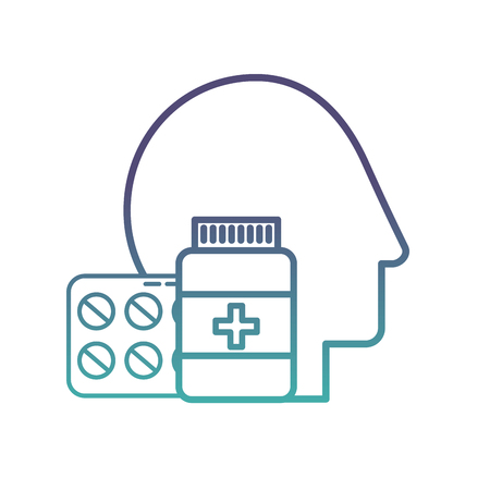 profile human head medicine pharmacy pills bottle vector illustration neon