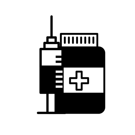 medication bottle pills and syringe vector illustration black and white Illustration