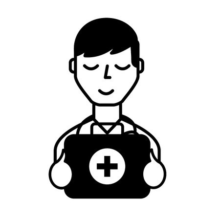 doctor professional with emergency kit first aid vector illustration black and white