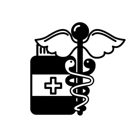 caduceus medical emblem bottle capsule pharmacy vector illustration black and white
