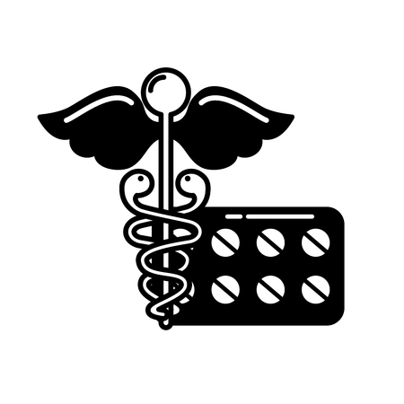 caduceus medical packaging pills healthcare vector illustration black and white Ilustracja
