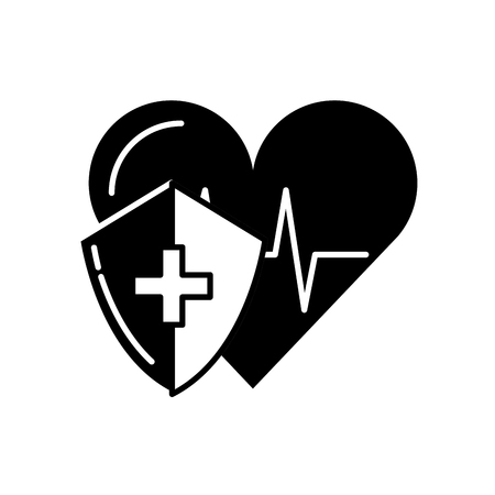medical shield protection heart rate cardiology vector illustration black and white Illustration